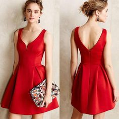 Red Plain Condole Belt Zipper Draped V-neck Satin Bridesmaid Audrey Hephurn Slim Vintage Mini Dress