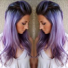 Purple hair color purple violet color melt with shadow root by Carlos Santiago hotonbeauty.com