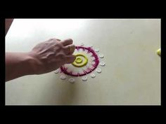 easy rangoli design - YouTube