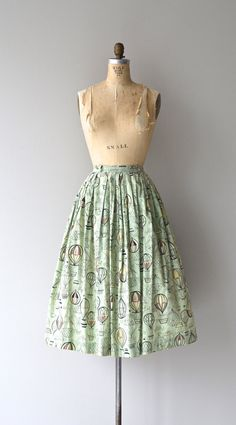 Up & Away skirt vintage 1950s skirt novelty print by DearGolden