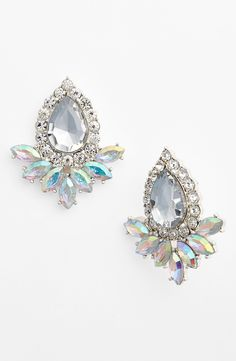 These sparkly iridescent crystal earrings are fit for a princess.
