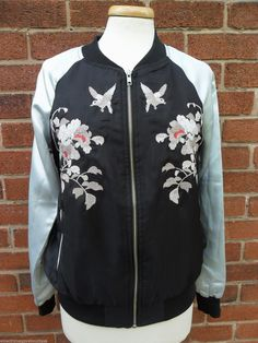 NEW LOOK WOMEN'S ORIENTAL BLACK SILVER SATIN BOMBER VARSITY STYLE JACKET 8 BNWT in Clothing, Shoes, Accessories, Women's Clothing, Coats, Jackets | eBay