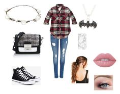 """""""Untitled #26"""" by aubrey-corbett on Polyvore featuring Converse, Karl Lagerfeld, Abercrombie & Fitch, Boohoo, Lime Crime and Lipsy"""