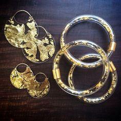 Gold Encasement Earrngs & Bangles by Luana Coonen. 23k, 22k, 18k, 14k, polycarbonate, acrylic