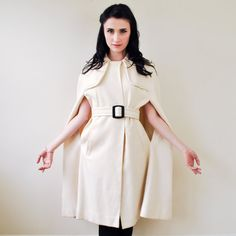 Vintage 1960s Mod White Wool Tweed Belted by RockAndRollVintage, $225.00