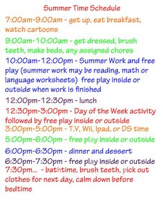 Summer Activities, Schedule, Ideas plus Free Printables Great daily schedule, activities, and ideas