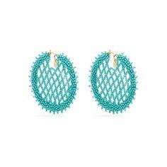Oscar De La Renta Bead-embellished lattice-disc earrings (£446) ❤ liked on Polyvore featuring jewelry, earrings, blue, blue bead earrings, earring jewelry, beads jewellery, blue hoop earrings and beaded earrings