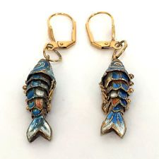 Gold plated dangling flexible enamel fish shape earrings with lever b... Lot 248