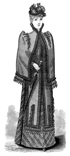 Victorian lady, black and white clip art, Victorian fashion image, ladies visiting toilette, vintage fashion illustration