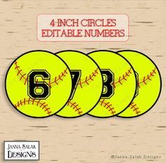 4 Softball Tags With Editable Numbers INSTANT by JannaSalakDesigns