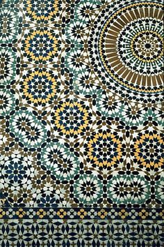 Image MOR 0515 featuring fountain, in Fez, Morocco, showing Geometric Pattern using ceramic tiles, mosaic or pottery.
