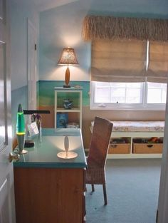 """Great expansion on Jamie's current Pottery Barn """"blue island surf"""" bedroom."""