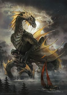 Sea Dragon by Radittz lake boat monster beast creature animal | Create your own roleplaying game material w/ RPG Bard: www.rpgbard.com | Writing inspiration for Dungeons and Dragons DND D&D Pathfinder PFRPG Warhammer 40k Star Wars Shadowrun Call of Cthulhu Lord of the Rings LoTR + d20 fantasy science fiction scifi horror design | Not Trusty Sword art: click artwork for source