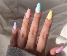 nails pink and white . nails pink and black . nails pink and gold . nails pink and blue Acrylic Nails Natural, Acrylic Nails Coffin Short, Simple Acrylic Nails, Best Acrylic Nails, Summer Acrylic Nails, Acrylic Nail Designs, Coffin Nails, Acrylic Nails Pastel, Summer Nail Polish