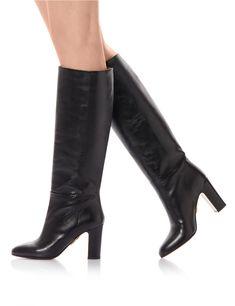 d1931c16 AQUAZZURA - Brera Boot 85 - BLACK - CALF Studded Leather, Black Leather,  Leather