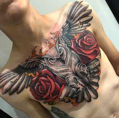 45 Attractive Big Tattoo Ideas For Men - Tattoo Badass Tattoos, Life Tattoos, Body Art Tattoos, Sleeve Tattoos, Tattoos For Guys, Cool Tattoos, Owl Tattoo Chest, Full Chest Tattoos, Chest Piece Tattoos