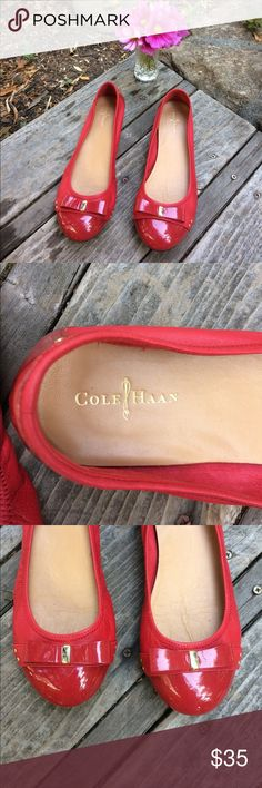 """🌺 Coke Haan; Nike Air Patent Red Flat w/Bow Sz. 9 So Pretty & in Great, Pre-Owned Condition! Cole Haan, NIKE Air Flat Red Shoes, Women's Size 9. Patent leather in front with Classy Looking Bows. Balance of Shoe is a Supple & Soft Leather. Super Comfy! 1/2"""" Heel. No nicks or dings - these look new!!! Thank you for shopping here. Please check out other items in my closet & bundle to save 💰. I 💖my Posher Pals & Ship Fast for you! Debbie 💃💃💃 Cole Haan Shoes Flats & Loafers"""