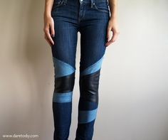 Dare to DIY in English: Denim & leather patchwork: customize your jeans