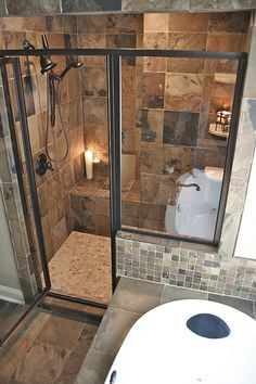 Fitting a shower and tub in a small space.