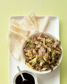 A Chinese take-out classic becomes a homemade family favorite with this easy recipe. You can use store-bought flour tortillas or make your own Mandarin pancakes.