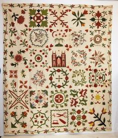Pictures don't do it justice.  Amazing quilt. Early American Album Quilt 1853 : Lot 98
