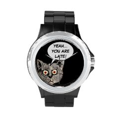 A funny cartoon cat face with a speech balloon saying 'yeah... you're late!' #funny #cat #humorous #late #anyway #always #late #mad #cat #hurry #up #speech #balloons #sayings #cat-themed #meow #cat #comic