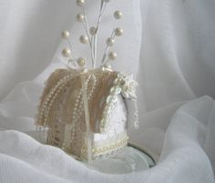 Christmas Winter White and Cream Handmade Holiday Ornament Victorian Inspired Recyclrd Paper Scraps