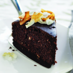 Coconut Chai Chocolate Cake  Coconut, cocoa, dates and a punchy blend of spices - cinnamon, ginger, cardamom and nutmeg - make for a memorable chai chocolate cake.