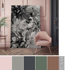 Blush Pink, Grey and Green Colour combination