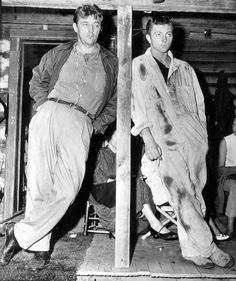 Robert Mitchum and his son James on the set of Thunder Road, 1958.