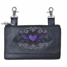 5442b325956 Unik womens purple heart with wings leather belt clasp motorcycle purse in  purple heart with wings