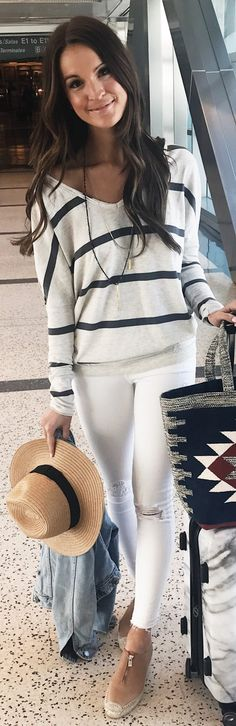 White Striped Knit / White Ripped Skinny Jeans / Beige Pumps