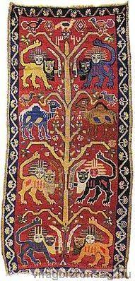 "Interesting ancient ""Tree of Life"" Persian rug with lions. Persian Carpet, Persian Rug, Textiles, Arte Latina, John Howe, Persian Culture, Iranian Art, Magic Carpet, Carpet Runner"