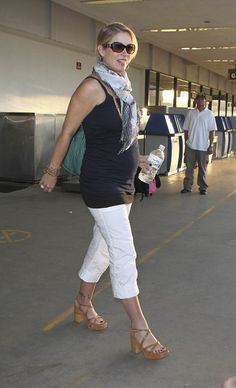 Pregnant Christina Applegate at LAX - I know she's prego, but love the outfit!!