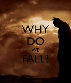 Why do we fall? So we can learn to pick ourselves back up. - Batman