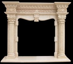 Marble Fireplace Surround Sale | Travertine | Italian Arabesco | Sandstone Facings  column hand carved marble fireplace mantel