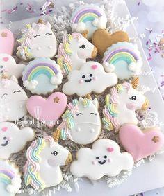 Cute rainbow, unicorn sugar cookies for kid's birthday party, baby shower, birthday & kitchen tea Unicorn Birthday Parties, Girl Birthday, Birthday Cake, Birthday Presents, Birthday Ideas, Cupcakes, Cupcake Cakes, Unicorn Foods, Unicorn Cookies
