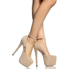 CiCiHot Nude Faux Suede Platform Stilettos ($30) ❤ liked on Polyvore featuring shoes, pumps, ankle strap stilettos, stilettos shoes, nude platform pumps, platform shoes and stiletto heel pumps