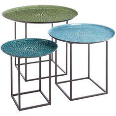 Elegant Annabelle Blue 3 Piece Mosaic Coffee Table Set