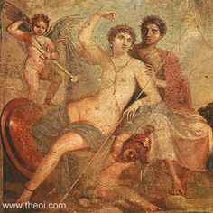 APHRODITE, ARES & EROS | VENUS, MARS & CUPID    Museum Collection:Museo Archeologico Nazionale di Napoli, Naples, Italy   Catalogue Number: TBA  Type:Fresco, Imperial Roman IV Style  Context: Pompeii, House of Mars and Venus   Date: C1st AD   Period: Imperial Roman