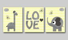 "Baby Boy Nursery art print Children Wall Art Baby Room Decor Kids Print set of 3 8"" x 10"" elephant giraffe yellow grey love by artbynataera"
