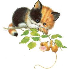 Ruth Morehead - Calico Kitten with Mouse on Vine