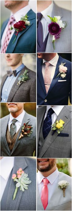 Wedding boutonnieres are always overlooked when planning a wedding, but many people just forget how much personality the boutonnieres can convey via this tiny bunch of flowers. The key of choosing a good wedding boutonniere lies in the color. Wedding Body, Wedding Beauty, Floral Wedding, Diy Wedding, Dream Wedding, Wedding Ideas, Wedding Groom, Wedding Stuff, Million Dollar Wedding