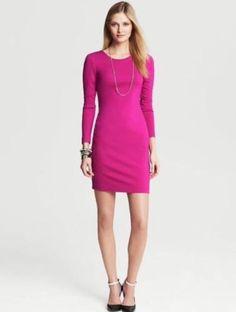 NWT Banana Republic Ponte Exposed Zip Back Shift Dress Salsa Magenta Pink Sz 8