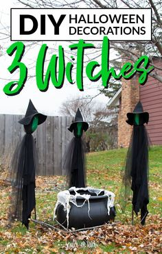 DIY Halloween Decorations - 3 Witches and a Cauldron - Scratch and Stitch