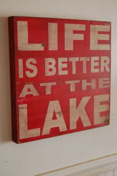 Life is better at the Lake  distressed rustic subway by kspeddler, $44.00