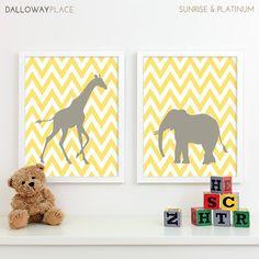 Kids Art for Children, Baby Nursery Decor, Zoo Jungle Nursery Art Print, Safari Animal Nursery Wall Art Chevron Kids Decor - Two 11x14. $40.00, via Etsy.