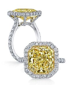 • Handcrafted, custom design • Center stone shapes: Available in all diamond cuts • Pictured with a Radiant cut Fancy Intense yellow diamond • Platinum or 18k gold • Colorless pavé diamonds, approx. 0.70 total carat weight • Choice of diamond or gem for The Signature Stone™ exclusively by Jean Dousset