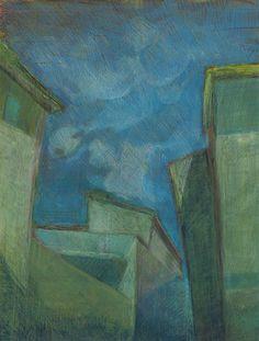 """""""Alatri"""", olio e pastello su carta, 2015.(Ciclo""""Quel che resta del cielo"""")"""