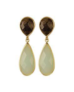 Brinco folheado a ouro amarelo com pedra natural quartzo fumê e quartzo  verde. Tati☆ 08c576f87b